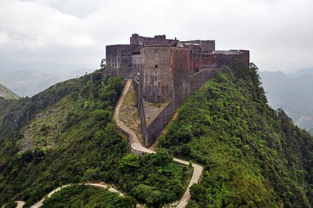 Citadelle Laferriere, built 1805-22, is the largest fortress in the Americas, and is considered locally to be the eighth wonder of the world. Citadelle Laferriere Aerial View.jpg