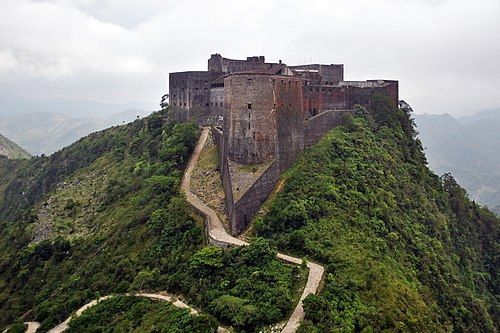 Citadelle Laferriere, built by Henri Christophe, is the largest fortress in the Americas. Citadelle Laferriere Aerial View.jpg