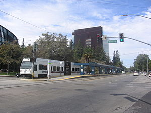 Civic Center station (VTA) - A train waits at Civic Center Station