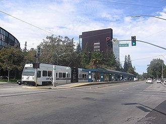 Civic Center station (VTA) - A train waits at Civic Center Station
