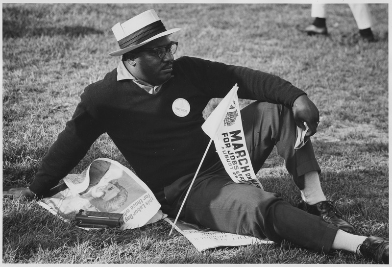 File:Civil Rights March on Washington, D.C. (A male marcher relaxing.) - NARA - 542026.tif