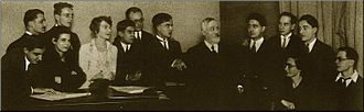 Olivier Messiaen - Paul Dukas's composition class at the Paris Conservatoire, 1929. Messiaen sits at the far right; Dukas stands at the centre