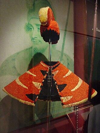 Rulers of the Hawaiian Islands - Hawaiian ruling chief's feathered 'ahu 'ula and mahiole in the Bishop Museum Oahu, Hawaii.