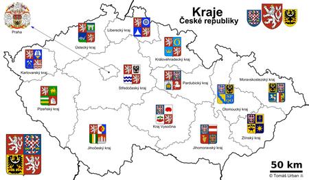 Localización de las regiones de la República Checa y sus escudos