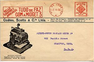 Postage meter - An early machine pictured on a 1932 envelope from Brazil addressed to Pitney Bowes.