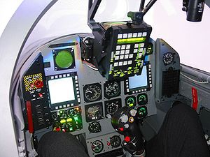 Aero L-159 Alca - L-159 cockpit with the original Honeywell 4x4 inch MFDs
