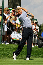 Montgomerie practicing before the 2004 Ryder Cup