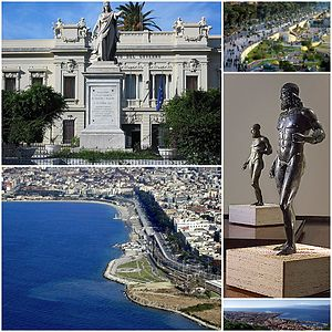 Reggio Calabria - Collage of Reggio di Calabria. Clockwise from top of left to right: Piazza Italia, Lungomare Falcomatà, Riace bronze statues in Magna Grecia National Museum, View of downtown Reggio, Messina Strait from Rotonda Square, seaside coast in Reggio.