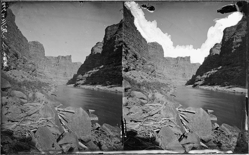 File:Colorado River. Cataract Canyon, boulders on left have logs wedged among them. Old nos. 314, 381, - NARA - 517966.tif