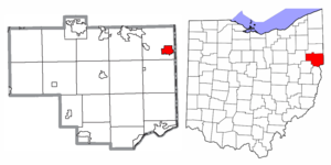 Location of East Palestine in Columbiana County and the State of Ohio
