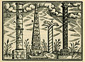 Column of Constantine, Obelisk of Theodosius, the Serpent Column, Column of Arcadius - Salomon Schweigger, Constantinople, 1608.jpg