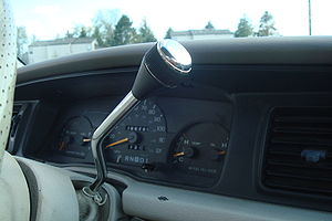 Gear stick - Column shifter in a Ford Crown Victoria.