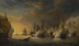 Edward Hawke, 1st Baron Hawke - The Second Battle of Cape Finisterre (1747) at which Hawke captured six ships of a French squadron: the French ship Intrepid battling against several British ships by Pierre-Julien Gilbert