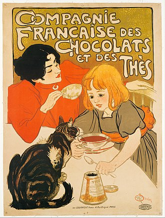 "In ""Compagnie Francaise des Chocolats et des Thes,"" Steinlen includes his wife and daughter in the illustration. Compagnie Francaise des Chocolats et des Thes MET DT270090.jpg"