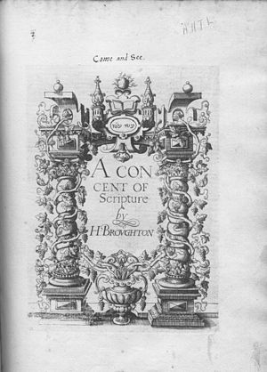 Hugh Broughton - Title page of A Concent of Scripture.