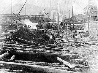 Cascade, New Hampshire - Image: Construction of Cascade Mill
