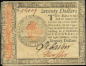 Continental Currency $70 banknote obverse (January 14, 1779).jpg