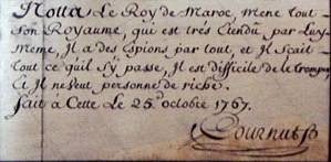 Théodore Cornut - Théodore Cornut handwriting and signature on his map of Essaouira, 25 October 1767.