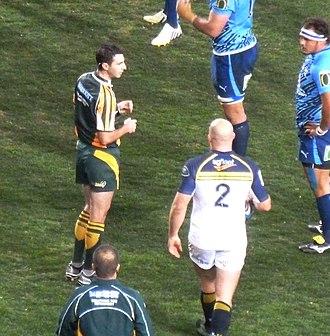 Craig Joubert - Craig Joubert refereeing the Brumbies vs Bulls 2013 Super Rugby semi-final.