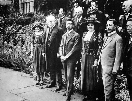 Prince Hirohito and British Prime Minister Lloyd George, 1921 Crown Prince Hirohito and Lloyd George 1921.jpg
