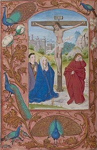 Crucifixion, with patron portrait, Book of Hours, Rome use, in Latin, Belgium, probably Bruges, ca. 1500. Illuminated by the Master of Nicholas von Firmian. The Morgan Library & Museum.jpg