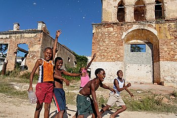 Afro-Cuban boys playing in Trinidad, Cuba