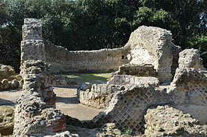 Cumae - The Temple of Zeus at Cumae was converted into a paleochristian basilica. The baptismal font can still be seen in the back of the building.
