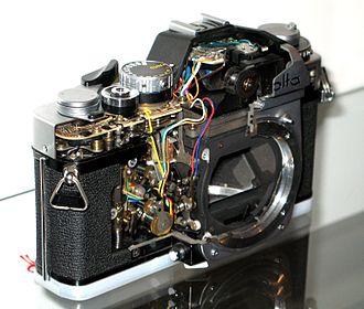 Minolta SR-mount - A cut-away Minolta XE showing its mount