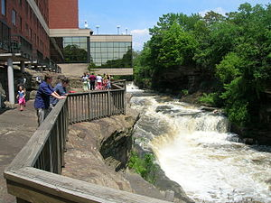 Cuyahoga Falls, Ohio - Cuyahoga River descending behind a hotel on Front Street