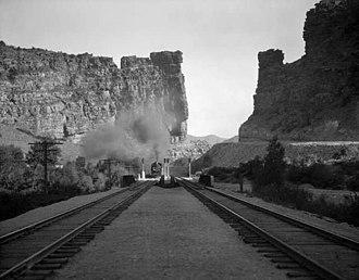 Castle Gate, Utah - Image: D&RGW Castle Gate steam train approaching