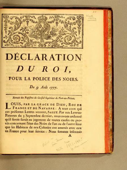 fichier d claration du roi pour la police des noirs du 9 ao t 1777 saint. Black Bedroom Furniture Sets. Home Design Ideas