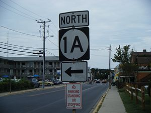 Delaware Route 1A - DE 1A northbound in Rehoboth Beach, where it turns from Bayard Avenue onto Christian Street