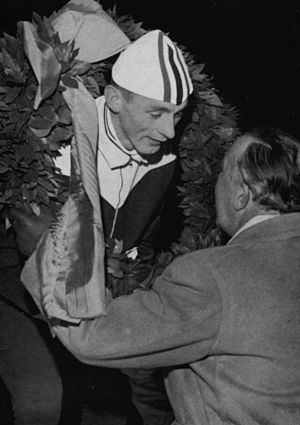 Nils Aaness - Nils Egil Aaness receives the laurel wreath from Prince Bertil at 1963 European Allround Speed Skating Championships for men at Nya Ullevi, Gothenburg.