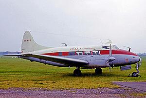 Falck (Denmark) - Falck De Havilland Dove light airliner wearing their titles and symbol in 1965