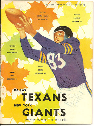 Dallas Texans (NFL) - Program from first ever game played by Dallas Texans in 1952