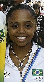 Exemplo da miscigenação brasileira: geneticamente, Daiane dos Santos é mais européia que africana.