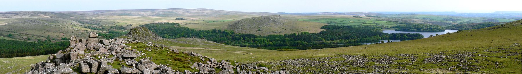 On Dartmoor, looking towards Burrator Reservoir & Plymouth