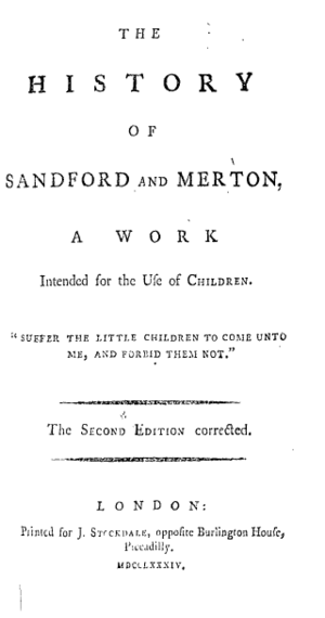 The History of Sandford and Merton - Title page from the second edition of Sandford and Merton