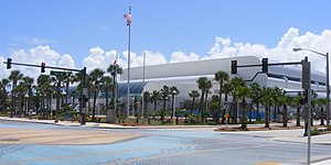 Ocean Center - Exterior of Ocean Center in Daytona Beach, FL; seen from the Earl St and N Atlantic Ave intersection, August 2007