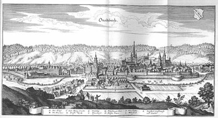Ansbach in the 17th century De Merian Frankoniae 108.jpg
