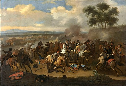 Battle of the Boyne between James II and William III, 12 July 1690, Jan van Huchtenburg De slag aan de Boyne (Ierland) tussen Jacobus II en Willem III, 12 juli 1690 Rijksmuseum SK-A-605.jpeg