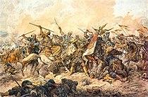 Defending the Polish banner at Chocim, by Juliusz Kossak, 1892.jpg