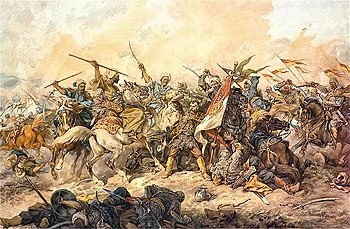 Defending the Polish banner at Chocim, by Juliusz Kossak, 1892.jpg