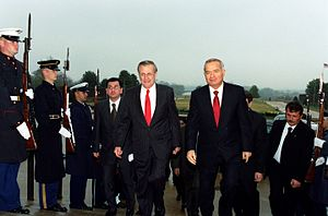 Islam Karimov - Karimov meets with Secretary of Defense Donald H. Rumsfeld in the Pentagon on March 13, 2002
