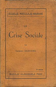 Portada de la obra de George Deherme,Crisis Social, París, Bloud & Co., 1910, in-16 °, 373 p.