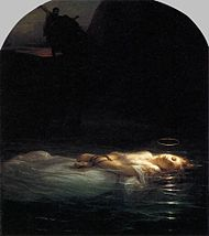 Delaroche, Paul - A Christian Martyr Drowned in the Tiber During the Reign of Diocletian - 1855.jpg