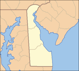 Location of Wilmington in Delaware