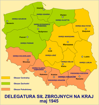 Armed Forces Delegation for Poland - Regional districts of the Delegatura in postwar Poland – Central (yellow), West (green), and South (orange)