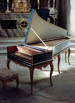 Contemporary harpsichord - Harpsichords played today tend to follow closely the building practices established in the historical period. This modern instrument was built by Jean-Paul Rouaud based on a historical instrument made in 1707 by Nicolas Dumont.