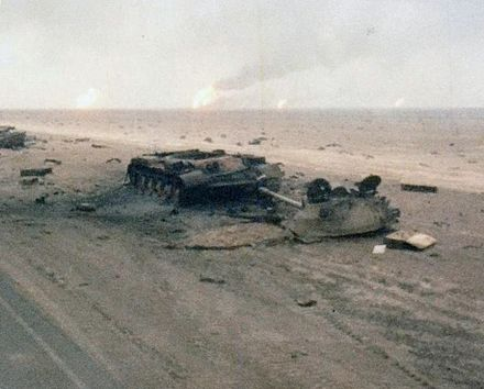 Iraqi tanks destroyed by Task Force 1-41 Infantry during the 1st Gulf War, February 1991 Destroyed Iraqi tank TF-41.jpg